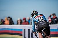 Axelle Bellaert (BEL), cornering<br /> <br /> Women U23 race.<br /> <br /> UCI 2019 Cyclocross World Championships<br /> Bogense / Denmark<br /> <br /> <br /> ©kramon