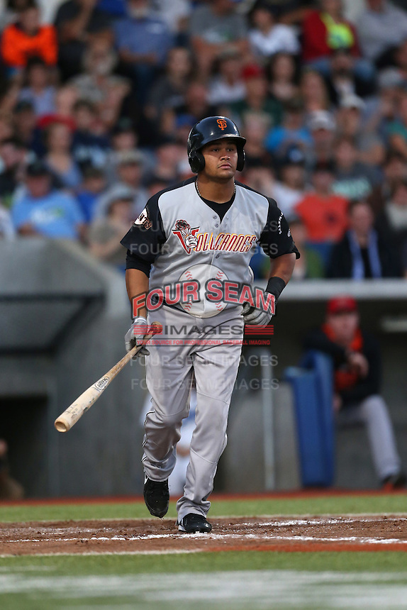 Julio Pena (8) of the Salem-Keizer Volcanoes bats during a game against the Hillsboro Hops at Ron Tonkin Field on July 27, 2015 in Hillsboro, Oregon. Hillsboro defeated Salem-Keizer, 9-2. (Larry Goren/Four Seam Images)