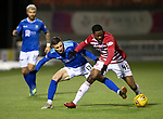 Hamilton Accies v St Johnstone…06.02.19…   New Douglas Park    SPFL<br />Michael O'Halloran and Lenny Sowah<br />Picture by Graeme Hart. <br />Copyright Perthshire Picture Agency<br />Tel: 01738 623350  Mobile: 07990 594431