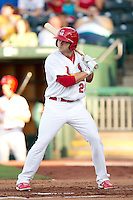 Chris Swauger (28) of the Springfield Cardinals at bat during a game against the Northwest Arkansas Naturals at Hammons Field on June 14, 2012 in Springfield, Missouri. (David Welker/Four Seam Images)
