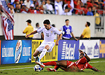 18 July 09: Jay Heaps (US) tries to pass Panama's Luis Moreno during the U.S. 2-1 overtime win in the CONCACAF Gold Cup Quarterfinals at Lincoln Field In Philadelphia, Pennsylvania.