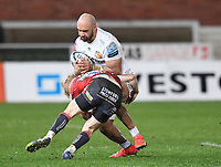 26th March 2021; Kingsholm Stadium, Gloucester, Gloucestershire, England; English Premiership Rugby, Gloucester versus Exeter Chiefs; George Barton of Gloucester tackles Olly Woodburn of Exeter Chiefs