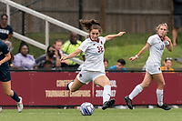 NEWTON, MA - AUGUST 29: Jessica Carlton #32 of Boston College passes the ball during a game between University of Connecticut and Boston College at Newton Campus Soccer Field on August 29, 2021 in Newton, Massachusetts.
