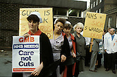 Guy's Nurses Action Group protests outside Guy's Hospital, London, at ward closures and spending cuts by Margaret Thatcher's Conservative government.