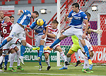 Hamilton Accies v St Johnstone…25.09.16.. New Douglas Park   SPFL<br />The Hamilton defence manage to survive late pressure from Joe Gormley, Chris Kane and Joe Shaughnessy<br />Picture by Graeme Hart.<br />Copyright Perthshire Picture Agency<br />Tel: 01738 623350  Mobile: 07990 594431