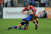 Jason Woodward of Gloucester Rugby is tackled by Jackson Willison of Bath Rugby during the Gallagher Premiership Rugby match between Bath Rugby and Gloucester Rugby at The Recreation Ground on Saturday 8th September 2018 (Photo by Rob Munro/Stewart Communications)