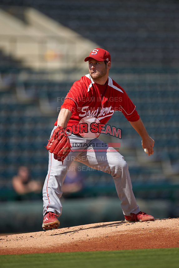 Florida Southern Moccasins starting pitcher Brady Arenson (23) delivers a pitch during an exhibition game against the Detroit Tigers on February 29, 2016 at Joker Marchant Stadium in Lakeland, Florida.  Detroit defeated Florida Southern 7-2.  (Mike Janes/Four Seam Images)
