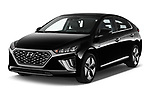 2020 Hyundai Ioniq Hybrid Shine 5 Door Hatchback angular front stock photos of front three quarter view