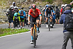 Damiano Caruso (ITA) Bahrain Victorious attacks on the final climb of Stage 20 of the 2021 Giro d'Italia, running 164km from Verbania to Valle Spluga-Alpe Motta, Italy. 29th May 2021.  <br /> Picture: LaPresse/Fabio Ferrari   Cyclefile<br /> <br /> All photos usage must carry mandatory copyright credit (© Cyclefile   LaPresse/Fabio Ferrari)