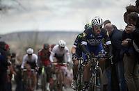 in his first year in the World Tour, prodigy Fernando Gaviria Rendon (COL/Etixx-Quickstep) already does a pretty impressive job over the Oude Kwaremont<br /> <br /> 71st Dwars door Vlaanderen (1.HC)