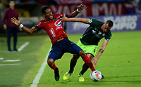 MEDELLIN - COLOMBIA - 13 - 03 - 2018: Yairo Moreno (Izq.) jugador de Deportivo Independiente Medellin disputa el balón con Jeider Riquett (Der.) jugador de La Equidad, durante partido de la fecha 8 entre Deportivo Independiente Medellin y La Equidad, por la Liga Aguila I 2018, en el estadio Atanasio Girardot de la ciudad de Medellin. / Didier Moreno (L) player of Deportivo Independiente Medellin fights for the ball with Jeider Riquett (R) player of La Equidad, during a match for the 8th date between Deportivo Independiente Medellin and La Equidad, for the Liga Aguila I 2018 at the Atanasio Girardot stadium in Medellin city. Photos: VizzorImage  / Leon Monsalve / Cont.