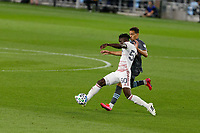 ST PAUL, MN - SEPTEMBER 06: Sam Johnson #50 of Real Salt Lake dribbles the ball during a game between Real Salt Lake and Minnesota United FC at Allianz Field on September 06, 2020 in St Paul, Minnesota.