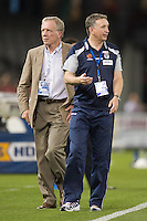 MELBOURNE, AUSTRALIA - OCTOBER 30:  Victory coach Ernie Merrick instructs his players during warmup at the round 12 A-League match between the Melbourne Victory and Adelaide United at Etihad Stadium on October 30, 2010 in Melbourne, Australia.  (Photo by Sydney Low / Asterisk Images)