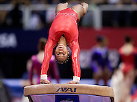 Kennedy Baker of Texas Dreams competes on the vault during 2012 US Olympic Trials Gymnastics Finals at HP Pavilion in San Jose, California on July 1st, 2012.