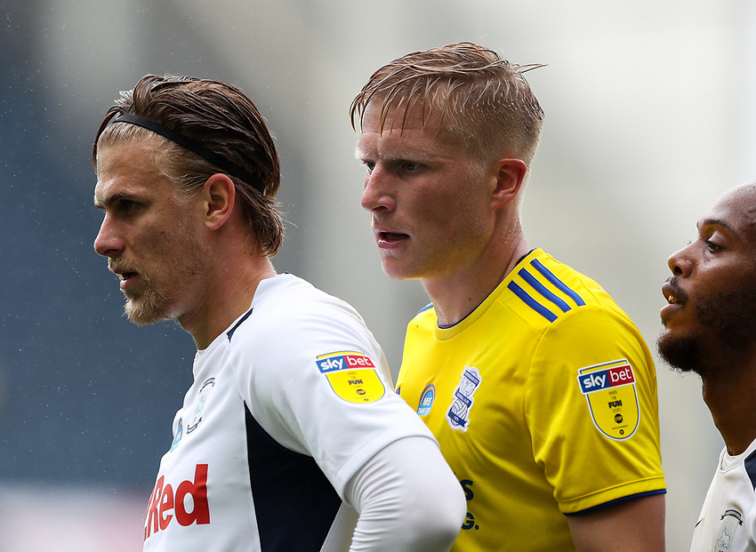 Preston North End's Brad Potts, Daniel Johnson and Birmingham City's Kristian Pedersen await a throw in<br /> <br /> Photographer Alex Dodd/CameraSport<br /> <br /> The EFL Sky Bet Championship - Leeds United v Barnsley - Thursday 16th July 2020 - Elland Road - Leeds<br /> <br /> World Copyright © 2020 CameraSport. All rights reserved. 43 Linden Ave. Countesthorpe. Leicester. England. LE8 5PG - Tel: +44 (0) 116 277 4147 - admin@camerasport.com - www.camerasport.com<br /> <br /> Photographer Alex Dodd/CameraSport<br /> <br /> The EFL Sky Bet Championship - Preston North End v Birmingham City - Saturday 18th July 2020 - Deepdale Stadium - Preston<br /> <br /> World Copyright © 2020 CameraSport. All rights reserved. 43 Linden Ave. Countesthorpe. Leicester. England. LE8 5PG - Tel: +44 (0) 116 277 4147 - admin@camerasport.com - www.camerasport.com