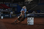 Kylie West during the second round of barrel qualifiers at the WCRA Stampede at the E. Photo by Andy Watson