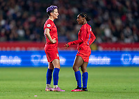 CARSON, CA - FEBRUARY 7: Megan Rapinoe #15 of the United States talks with Crystal Dunn #19 during a game between Mexico and USWNT at Dignity Health Sports Park on February 7, 2020 in Carson, California.
