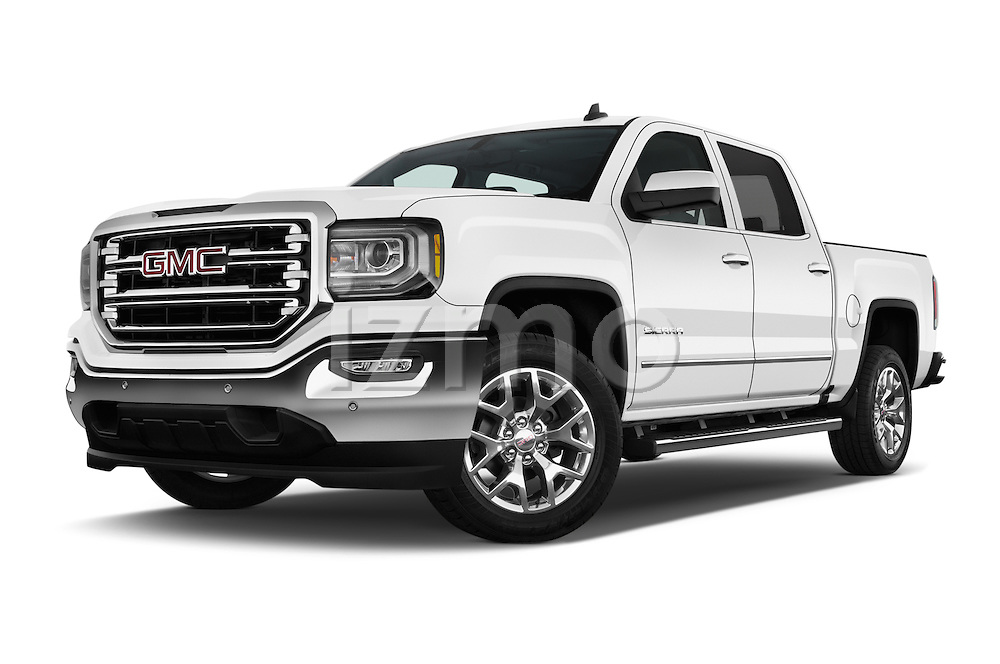 Stock pictures of low aggressive front three quarter view of 2017 GMC Sierra-1500 Crew-Cab-Short-Box-SLT 4 Door Pickup Low Aggressive