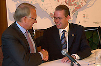 August 12,  2003, Montreal, Quebec, Canada<br /> <br /> Gerald Tremblay, Mayor of Montreal (L) and <br /> Claude Bechard, Quebec Minister of Work, Social Solidarity and Family (Emploi, SolidaritÈ Sociale et famille)<br /> make an announcement about fighting poverty on the Montreal island, during a  press conference, august 12,  2003  in Montreal, CANADA<br /> <br /> <br /> Mandatory Credit: Photo by Pierre Roussel- Images Distribution. (©) Copyright 2003 by Pierre Roussel