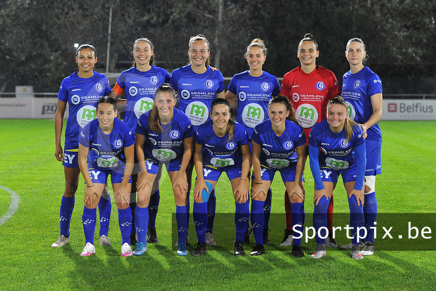 Gent's forward Jolet Lommen (9) , Gent's defender Silke Vanwynsberghe (21) , Gent's forward Lobke Loonen (19) , Gent's midfielder Chloe Vande Velde (10) , Gent's goalkeeper Nicky Evrard (1) , Gent's defender Heleen Jacques (4) and Gent's defender Rkia Mazrouai (2) , Gent's defender Fran Meersman (5) , Gent's midfielder Elise Meijerink (23) , Gent's midfielder Emma Van Britsom (6) , Gent's forward Imani Prez (11) pictured during a female soccer game between  AA Gent Ladies and Femina White Star Woluwe on the third matchday of the 2020 - 2021 season of Belgian Scooore Womens Super League , friday 2 nd of October 2020  in Oostakker , Belgium . PHOTO SPORTPIX.BE | SPP | STIJN AUDOOREN