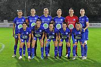 Gent's forward Jolet Lommen (9) , Gent's defender Silke Vanwynsberghe (21) , Gent's forward Lobke Loonen (19) , Gent's midfielder Chloe Vande Velde (10) , Gent's goalkeeper Nicky Evrard (1) , Gent's defender Heleen Jacques (4) and Gent's defender Rkia Mazrouai (2) , Gent's defender Fran Meersman (5) , Gent's midfielder Elise Meijerink (23) , Gent's midfielder Emma Van Britsom (6) , Gent's forward Imani Prez (11) pictured during a female soccer game between  AA Gent Ladies and Femina White Star Woluwe on the third matchday of the 2020 - 2021 season of Belgian Scooore Womens Super League , friday 2 nd of October 2020  in Oostakker , Belgium . PHOTO SPORTPIX.BE | SPP | STIJN AUDOOREN