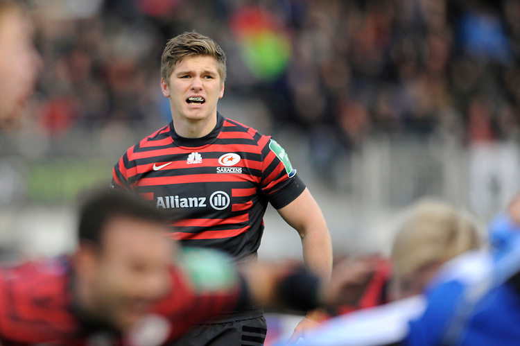 Owen Farrell of Saracens looks on during the Heineken Cup Round 6 match between Saracens and Connacht Rugby at Allianz Park on Saturday 18th January 2014 (Photo by Rob Munro)