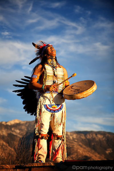 Native American with drum