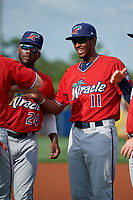 Fort Myers Miracle Lewin Diaz (11) during introductions before a Florida State League game against the Charlotte Stone Crabs on April 6, 2019 at Charlotte Sports Park in Port Charlotte, Florida.  Fort Myers defeated Charlotte 7-4.  (Mike Janes/Four Seam Images)