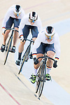 The team of Germany with Eric Engler, Robert Forstemann and Max Niederlag compete in Men's Team Sprint - Qualifying match as part of the 2017 UCI Track Cycling World Championships on 12 April 2017, in Hong Kong Velodrome, Hong Kong, China. Photo by Victor Fraile / Power Sport Images