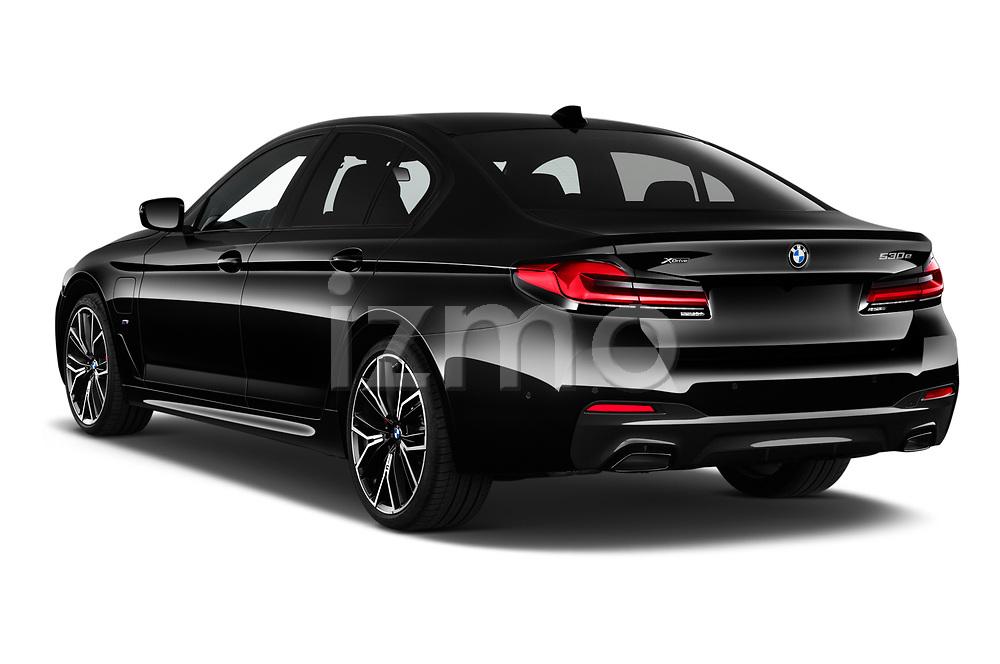 Car pictures of rear three quarter view of 2021 BMW 5-Series 530e-Edition-M-Sport 4 Door Sedan Angular Rear