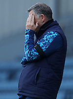 16th April 2021; Ewood Park, Blackburn, Lancashire, England; English Football League Championship Football, Blackburn Rovers versus Derby County; Blackburn Rovers manager Tony Mowbray reacts after his team conceded the opening goal