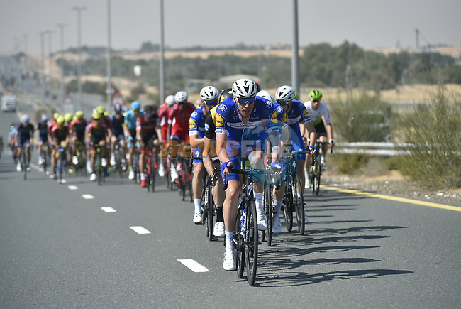 The peloton with Quick-Step Floors on the front during Stage 3 The Silicon Oasis Stage of the Dubai Tour 2018 the Dubai Tour's 5th edition, running 180km from Skydive Dubai to Fujairah, Dubai, United Arab Emirates. 7th February 2018.<br /> Picture: LaPresse/Fabio Ferrari | Cyclefile<br /> <br /> <br /> All photos usage must carry mandatory copyright credit (© Cyclefile | LaPresse/Fabio Ferrari)