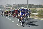 The peloton with Quick-Step Floors on the front during Stage 3 The Silicon Oasis Stage of the Dubai Tour 2018 the Dubai Tour's 5th edition, running 180km from Skydive Dubai to Fujairah, Dubai, United Arab Emirates. 7th February 2018.<br /> Picture: LaPresse/Fabio Ferrari   Cyclefile<br /> <br /> <br /> All photos usage must carry mandatory copyright credit (© Cyclefile   LaPresse/Fabio Ferrari)