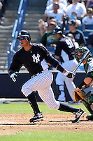 New York Yankees third baseman Alex Rodriguez #13 at bat during a scrimmage against the USF Bulls at Steinbrenner Field on March 2, 2012 in Tampa, Florida.  New York defeated South Florida 11-0.  (Mike Janes/Four Seam Images)