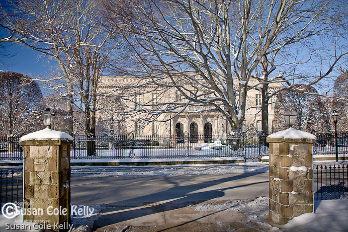 The Elms mansion in winter, Newport, RI, USA