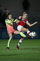 Leah Williamson of Arsenal and Tessa Wullaert of Manchester City during Arsenal Women vs Manchester City Women, FA Women's Continental League Cup Football at Meadow Park on 29th January 2020