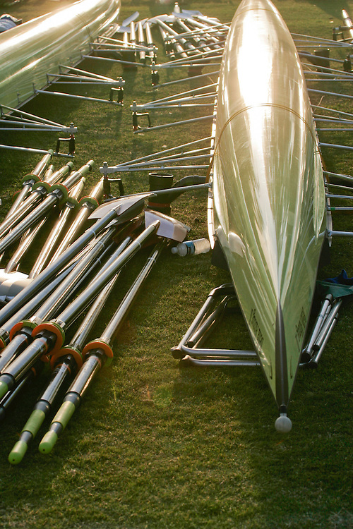 Rowing, Empacher Rowing Shells, eight oared racing shells, on slings, oars, and equipment, San Diego Crew Classic, rowing regatta in Mission Bay, San Diego, California,