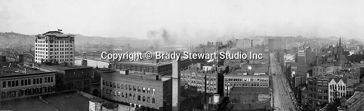Pittsburgh PA: View of City from the top of the Empire building near the Point. View of the city looking up Liberty Avenue and the Allegheny River.
