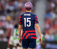 AUSTIN, TX - JUNE 16: Megan Rapinoe #15 of the USWNT looks to the ball during a game between Nigeria and USWNT at Q2 Stadium on June 16, 2021 in Austin, Texas.