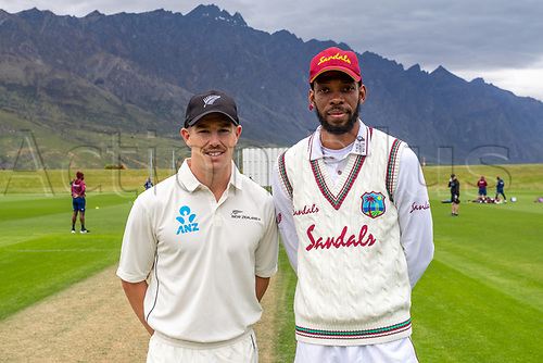 20th November 2020; John Davies Oval, Queenstown, Otago, South Island of New Zealand. Cole McConchie and Roston Chase before play