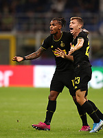 Football Soccer: UEFA Champions League -Group Stage- Group F Internazionale Milano vs  SK Slavia Praha, Giuseppe Meazza stadium, September 17, 2019.<br /> Inter's Nicolò Barella (r) celebrates after scoring with his teammate Valentino Lazaro (l) during the Uefa Champions League football match between Internazionale Milano and Slavia Praha at Giuseppe Meazza (San Siro) stadium, September 17, 2019.<br /> UPDATE IMAGES PRESS/Isabella Bonotto
