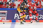 Eishockey: Deutschland – Tschechien am 01.05.2021 in der ARENA Nürnberger Versicherung in Nürnberg<br /> <br /> Deutschlands Simon Sezemsky (Nr.93) gegen Tschechiens David Nemecek (Nr.24)<br /> <br /> Foto © Duckwitz/osnapix/PIX-Sportfotos *** Foto ist honorarpflichtig! *** Auf Anfrage in hoeherer Qualitaet/Aufloesung. Belegexemplar erbeten. Veroeffentlichung ausschliesslich fuer journalistisch-publizistische Zwecke. For editorial use only.