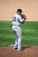 Pawtucket Red Sox pitcher Edwin Escobar (22) gets ready to deliver a pitch during a game against the Syracuse Chiefs on July 6, 2015 at NBT Bank Stadium in Syracuse, New York.  Syracuse defeated Pawtucket 3-2.  (Mike Janes/Four Seam Images)