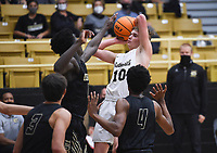 Bentonville guard Hayden Shanks (10) looks to pass, Saturday, November 14, 2020 during a basketball game at Bentonville High School in Bentonville. Check out nwaonline.com/201115Daily/ for today's photo gallery. <br /> (NWA Democrat-Gazette/Charlie Kaijo)