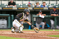 Bradenton Marauders catcher Endy Rodriguez (5) fields a throw during a game against the Jupiter Hammerheads on June 23, 2021 at LECOM Park in Bradenton, Florida.  (Mike Janes/Four Seam Images)