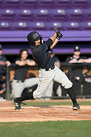 Shortstop Chad Minato (6) of the Harvard Crimson bats in game two of a doubleheader against the Furman Paladins on Friday, March 16, 2018, at Latham Baseball Stadium on the Furman University campus in Greenville, South Carolina. Furman won, 7-6. (Tom Priddy/Four Seam Images)