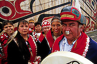 A Native Alaskan Tlingit dance group poses in traditional dress. Alaska.