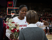 Stanford, CA - February 9, 2020: Nadia Fingall, Tara VanDerveer at Maples Pavilion. Stanford Women's Basketball defeated the USC Trojans 79-59 on their Senior Night and celebration of National Girls and Women in Sports Day.