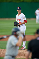 Peoria Chiefs relief pitcher Austin Sexton (29) gets ready to deliver a pitch during a game against the West Michigan Whitecaps on May 9, 2017 at Dozer Park in Peoria, Illinois.  Peoria defeated West Michigan 3-1.  (Mike Janes/Four Seam Images)