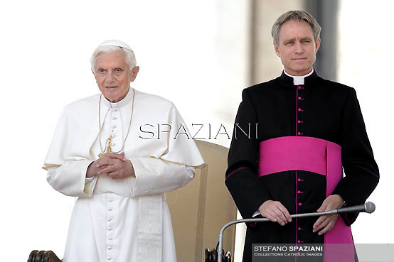 Pope Benedict XVI Monsignor Georg Gänswein during his weekly general audience in St. Peter square at the Vatican, Wednesday.23 May, 2012
